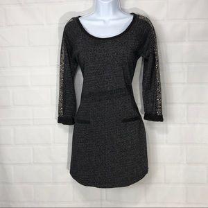 Jessica Simpson Black Metallic Embellish Dress SM